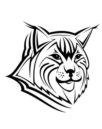 cruel zoo: Head of lynx as a mascot isolated on white Illustration