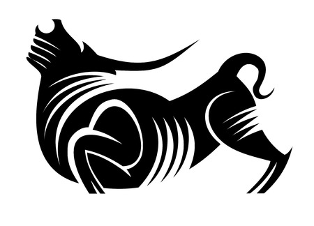 agriculture symbol: Black silhouette of bull as a mascot