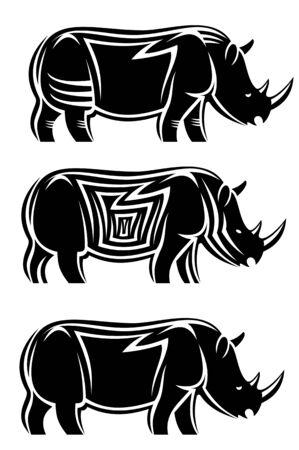 Set of wild rhinoceroses isolated on white Vector