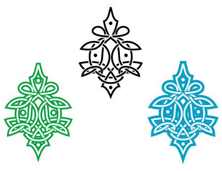 Celta ornamento para diseño aislado en blanco Ilustración de vector