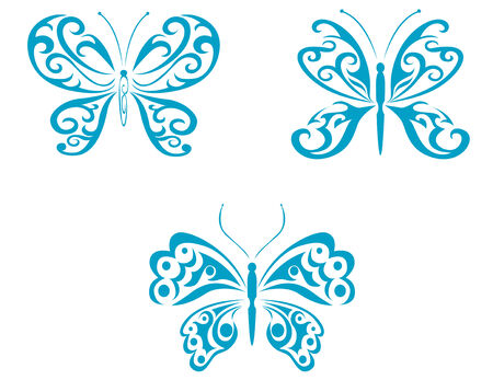 Isolated tattoos of butterfly on white background Stock Vector - 5498625