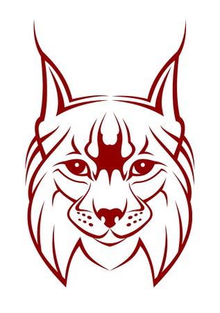 lynxs: Chef de lynx comme une mascotte isol�e sur blanc  Illustration
