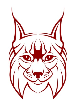lynx: Head of lynx as a mascot isolated on white Illustration