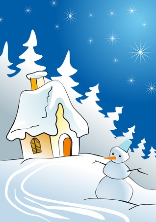 House in winter forest as a concept of Christmas Vector