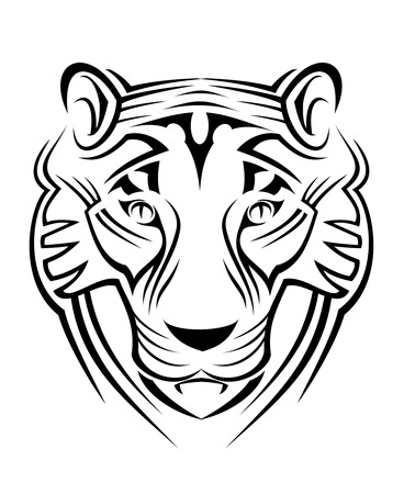 wildcats: Tiger sign isolated on white as  a symbol of wildlife Illustration