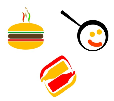 Fast food symbols isolated on white foe design Vector