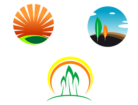 Colorful isolated nature icons for design and decoration Illustration
