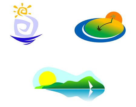 Colorful isolated nature icons for design and decoration Vector