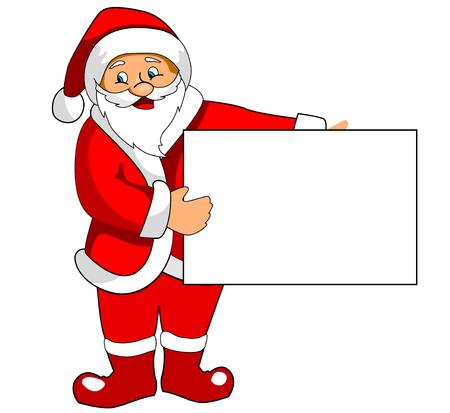 the mittens: Funny Santa Claus con papel en blanco para el dise�o de