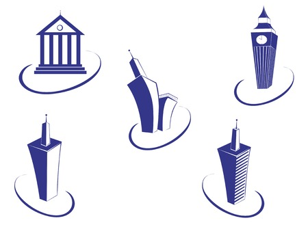 Symbols of modern and ancient buildings for design Stock Vector - 5609124