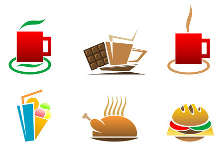 sandwiches: Color fast food symbols for design isolated on white