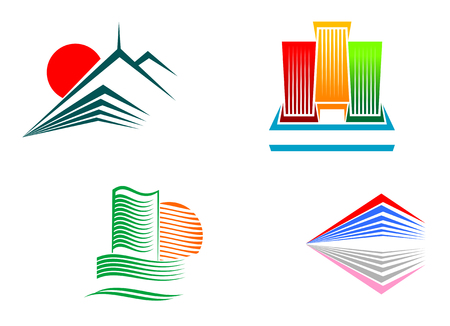 Symbols of modern and ancient buildings for design Vector