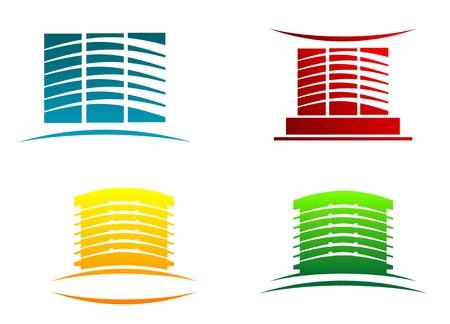 Symbols of modern buildings for design Illustration