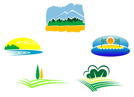 green land: Colorful isolated nature icons for design and decoration Illustration
