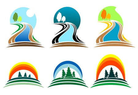 Colorful isolated nature icons for design and decoration Stock Vector - 5647587