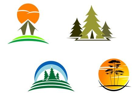 tourism logo: Tourism symbols for design isolated on white