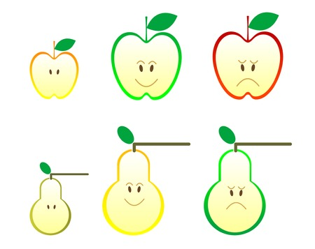 Apple and pear icons isolated on white Stock Vector - 5664342