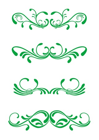 victorian fashion: Floral decorations isolated on white background Illustration