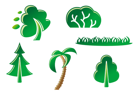 Set of tree symbols and grass as a signs Vector
