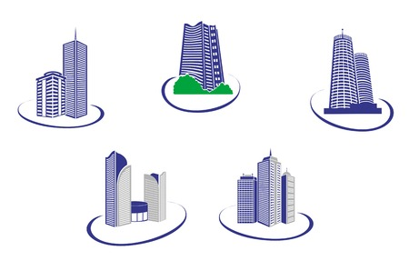 Symbols of modern buildings for design Stock Vector - 5690375