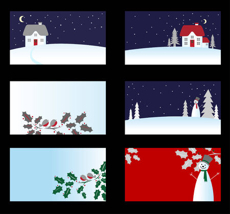 christmas paste: Set of christmas business cards isolated on background