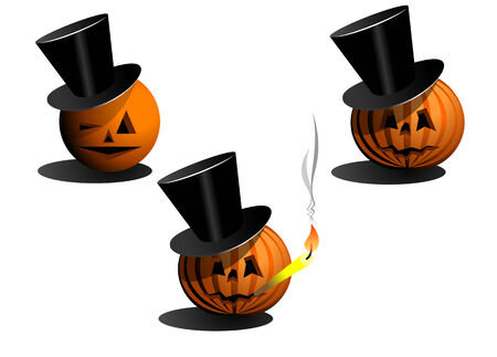 Set of halloween pumpkins in black hats Vector
