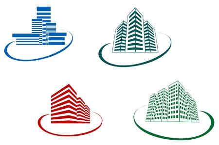 Símbolos de edificios antiguos y modernos para el diseño