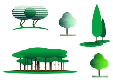 Set of tree symbols as a signs or emblems Stock Vector - 5790331