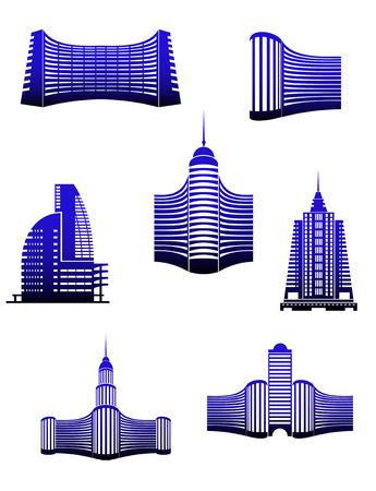 architecture logo: Symbols of modern buildings for design Illustration