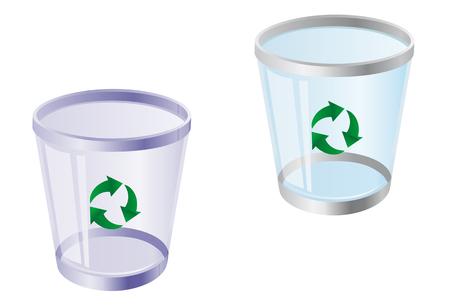 wastepaper basket: Glossy Recycle Bin isolato su bianco per il web design