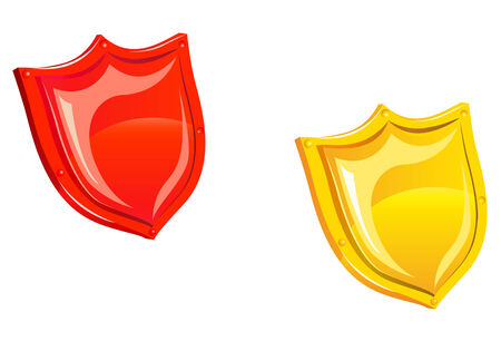 blazonry: Glossy security shield isolated on white for web design