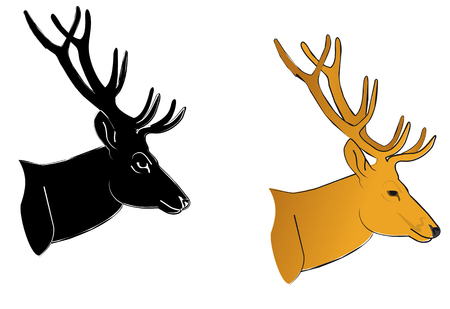 Profile of wild deer for design isolated on white Stock Vector - 5790334