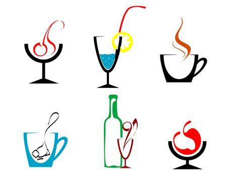 bollicine champagne: Set di bevande e bibite simboli per la progettazione