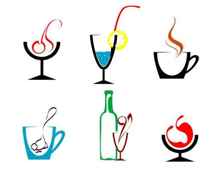 Set of beverages and drinks symbols for design Vector