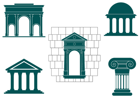 Symbols of ancient buildings for design and decorate Vector
