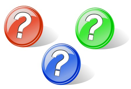 Set of glossy question buttons for web design Stock Vector - 5852892