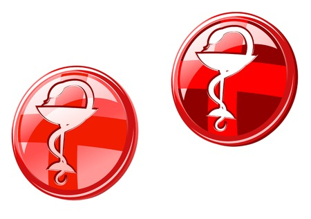 Medicine icons and signs isolated on white Vector