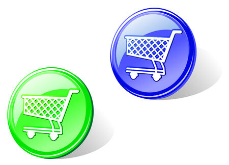 package icon: Glossy shopping cart in two colors for web design