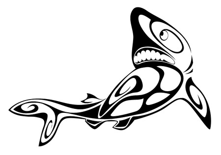 dead fish: Black shark tattoo for design isolated on white Illustration