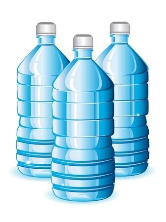 plastic: Geïsoleerde blauwe flessen van schoon water voor ontwerp