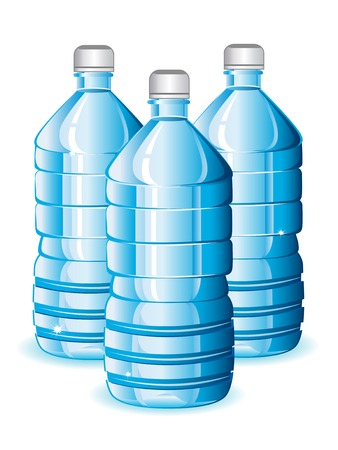 Isolated blue bottles of clean water for design Vector