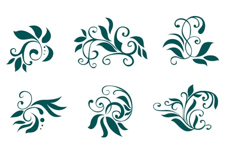 Floral and flower decorations isolated on white Stock Vector - 5852887