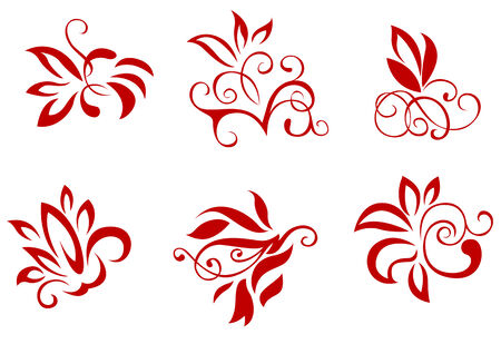 Floral and flower decorations isolated on white Stock Vector - 5852897