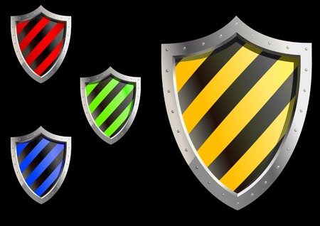 Glossy security shields isolated on backgroud for web design Vector