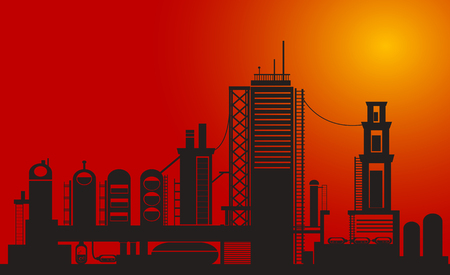 Silhouette of chemical factory on sunset time Vector