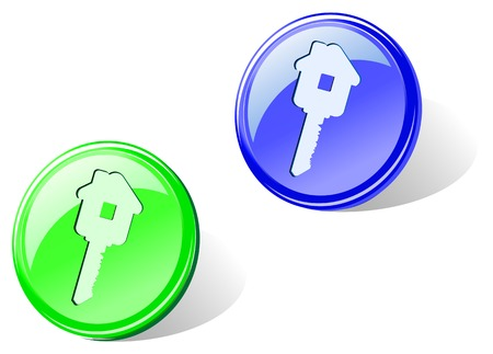 Glossy home key icon in two colors for web design Stock Vector - 5852915