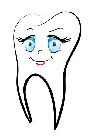 dientes caricatura: White smiling dientes como un concepto de salud o un s�mbolo