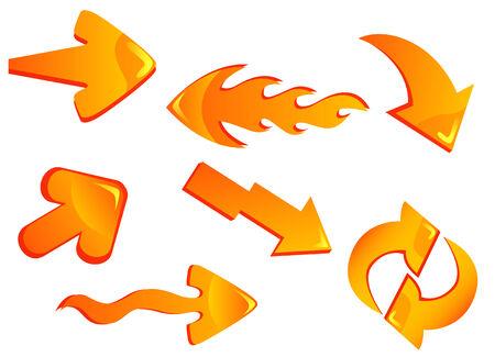 intentie: Set van glanzende gele pijl iconen geïsoleerd op wit voor webdesign Stock Illustratie