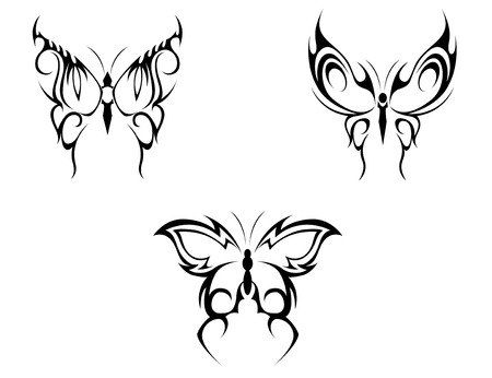 wing figure: Isolated tattoos of butterfly on white background