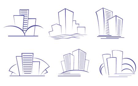 logotipo de construccion: Conjunto de s�mbolos de edificio moderno de dise�o  Vectores